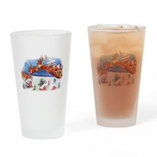 Santa In His Flying Sleigh Drinking Glass