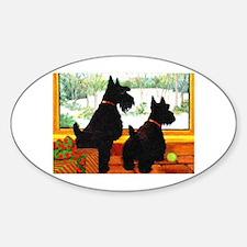 A Scotty Dog Christmas Sticker (Oval)
