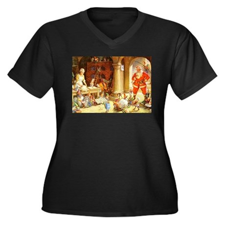 Mrs. Claus & Women's Plus Size V-Neck Dark T-Shirt