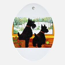 A Scotty Dog Christmas Ornament (Oval)