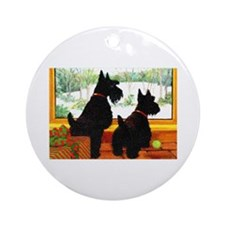 A Scotty Dog Christmas Ornament (Round)