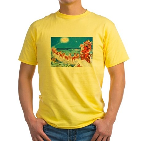 Santa Claus Up On The Rooftop Yellow T-Shirt