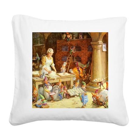 Mrs. Claus & the Elves Bake C Square Canvas Pillow