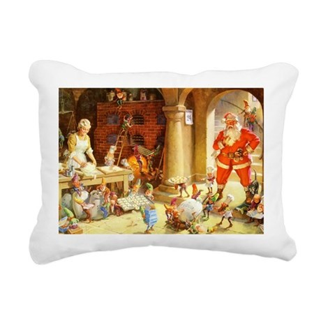Mrs. Claus & the Elves B Rectangular Canvas Pillow