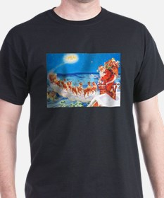 Santa Claus Up On The Rooftop T-Shirt