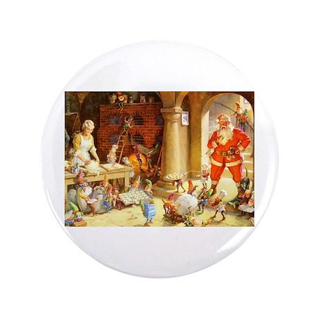 "Mrs. Claus & the Elves Bake Christmas 3.5"" Button"