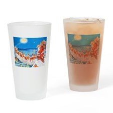 Santa Claus Up On The Rooftop Drinking Glass