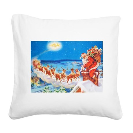 Santa Claus Up On The Rooftop Square Canvas Pillow