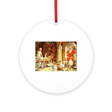 Mrs. Claus & the Elves Bake Chris Ornament (Round)