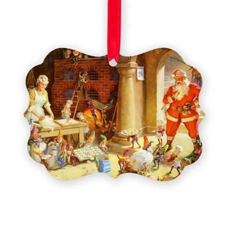 Mrs. Claus & the Elves Bake Chris Picture Ornament