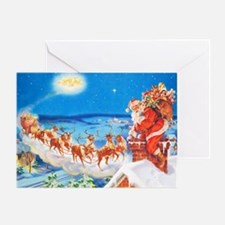 Santa Claus Up On The Rooftop Greeting Card