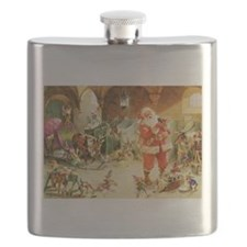 Santa in the North Pole Stables Flask