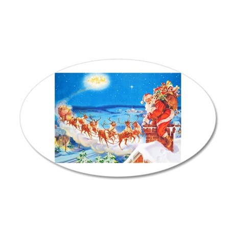 Santa Claus Up On The Roofto 35x21 Oval Wall Decal