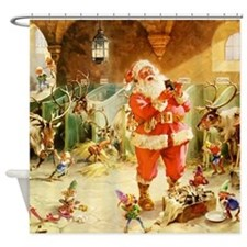 Santa in the North Pole Stables Shower Curtain