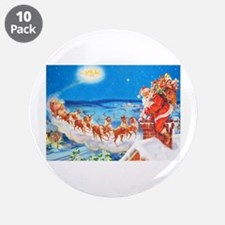 """Santa Claus Up On The Roofto 3.5"""" Button (10 pack)"""