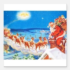 "Santa Claus Up On The Ro Square Car Magnet 3"" x 3"""