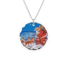 Santa Claus Up On The Roofto Necklace Circle Charm