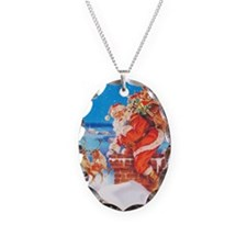Santa Claus Up On The Rooftop Necklace Oval Charm