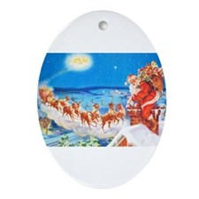 Santa Claus Up On The Rooftop Ornament (Oval)