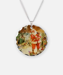Santa in the North Pole Stab Necklace Circle Charm