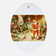 Santa in the North Pole Stables Ornament (Oval)