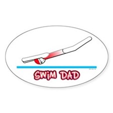 Swim Dad (girl) red suit Oval Decal