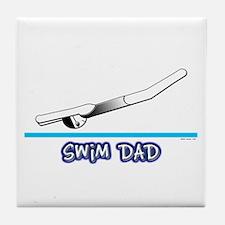 Swim Dad (girl) black suit Tile Coaster