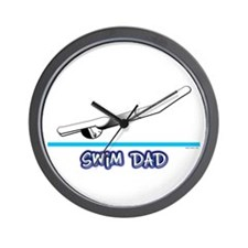Swim Dad (girl) black suit Wall Clock