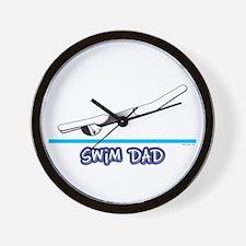 Swim Dad (girl) black suit Wall Clock