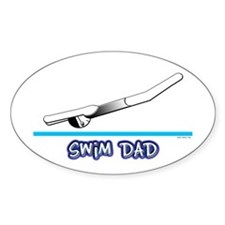 Swim Dad (girl) black suit Oval Decal