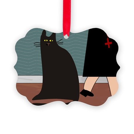 cat and nun blanket.PNG Picture Ornament