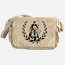 Retro Scooter Rider on Laurel Messenger Bag