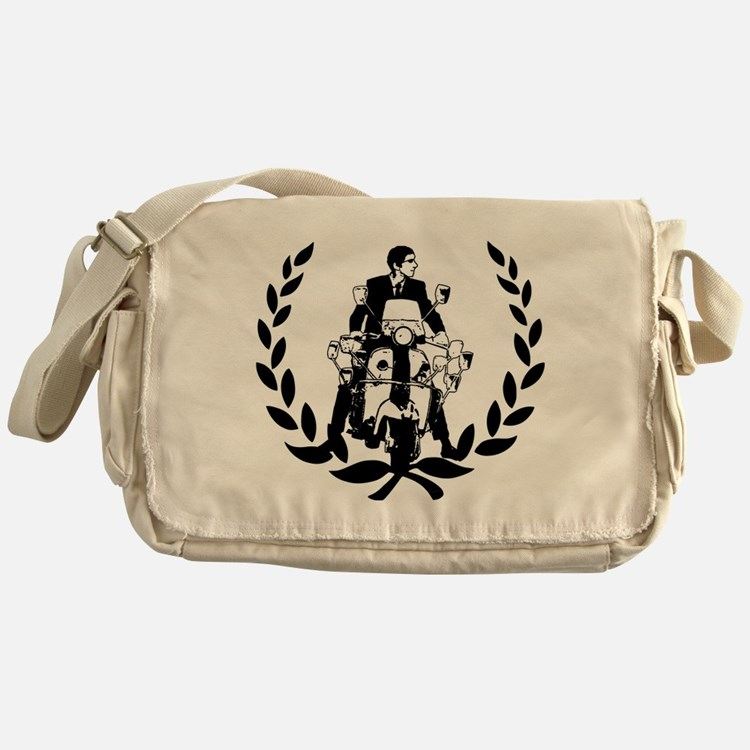Retro Scooter Rider on Laurel Messenger Bag