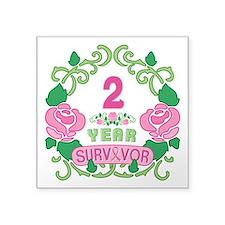 """BCA 2 Year Survivor Square Sticker 3"""" x 3"""""""