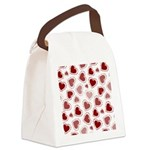 Fun Red Hearts Canvas Lunch Bag