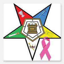 "OES Breast Cancer Awareness Square Car Magnet 3"" x"