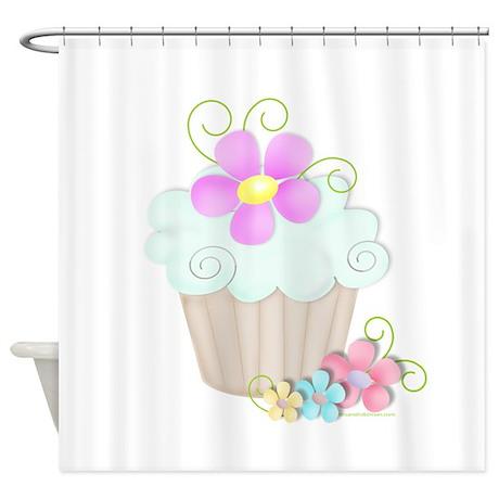 Aqua Cupcake Shower Curtain