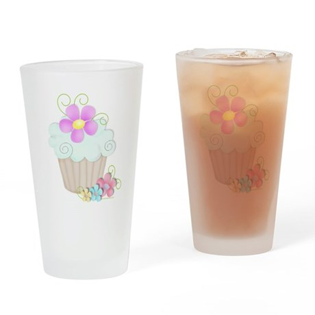 Aqua Cupcake Drinking Glass