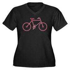 Red and White Cycling Women's Plus Size V-Neck Dar