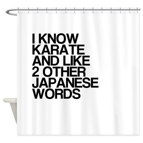 Funny Karate Japanese Words Shower Curtain By TheCafeMarket