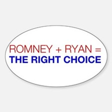 Romney + Ryan = The Right Choice Decal