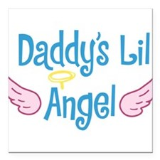 "Daddys Lil Angel Square Car Magnet 3"" x 3"""