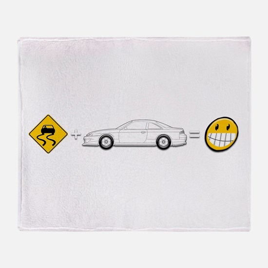 Caution sign Drift and S14 is fun Throw Blanket