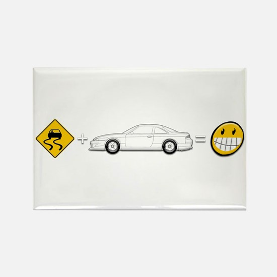 Caution sign Drift and S14 is fun Rectangle Magnet