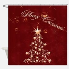 Red Golden Christmas Shower Curtain