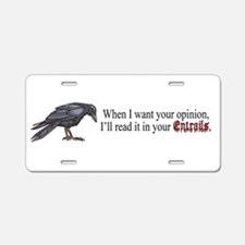 Entrails and Opinions Aluminum License Plate