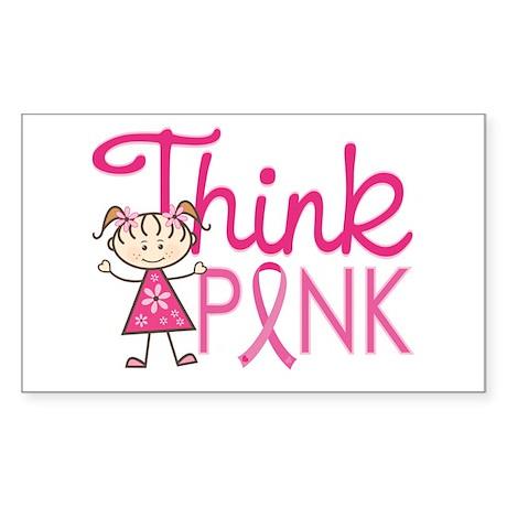 Think Pink Sticker (Rectangle)