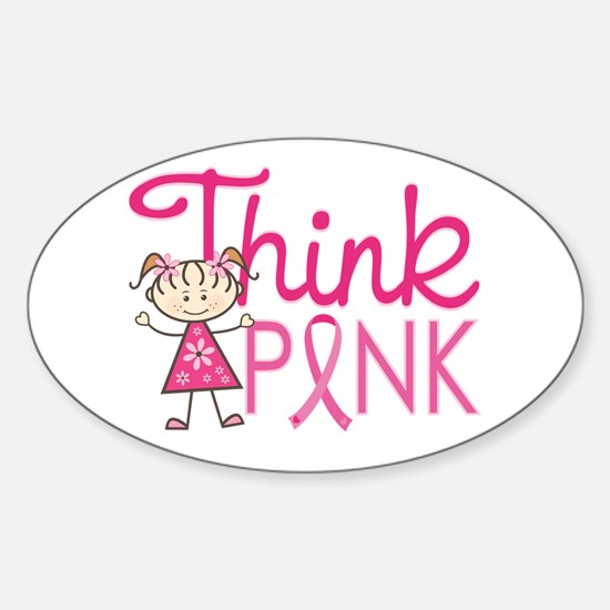 Think Pink Sticker (Oval)