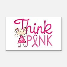 Think Pink Rectangle Car Magnet