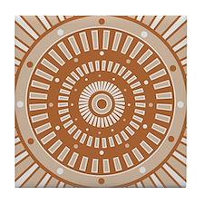Starburst Sundial Earthtone Tile Coaster